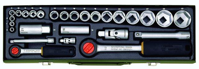 Набор автомобилиста с трещотками на 1/4 и на 1/2, 27 позиций  PROXXON №23020