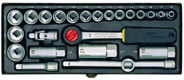 PROXXON №23110 Компактный набор с трещоткой на 3/8 для головок 6-24 мм, 20 позиций