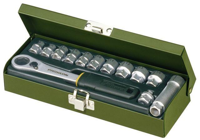PROXXON №23602 Специальний набор коротких кованных сквозных головок и сквозной трещоточный ключ, набор из 14 позиций от 13 до 27 мм