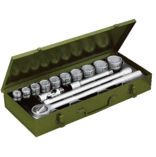 PROXXON №23300 Набор торцевых головок из хром-ванадиевой стали для тяжелых работ. Насадки с посадкой 3/4 от 22 до 50 мм 14 позиций